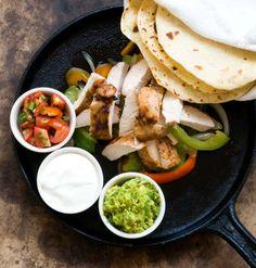 Chicken fajitas from Homesick Texan - marinade includes balsamic vinegar, an interesting choice....