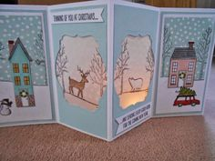 White Christmas holiday home scene tealight card Stampin' Up! Homemade Christmas Cards, Stampin Up Christmas, Homemade Cards, Fancy Fold Cards, Folded Cards, Paper Cards, Pop Up Cards, Xmas Cards, Holiday Cards