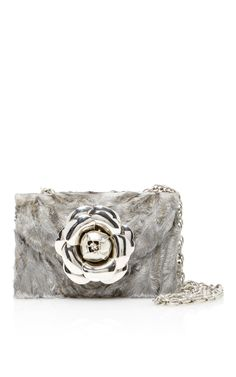 Oscar De La Renta  Astrakan Rose Shoulder Bag