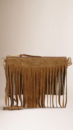 Dark sand House Check Clutch Bag with Suede Fringe - Image 1