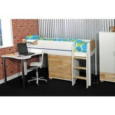Kids Avenue Urban 1 Midsleeper is a great study and storage solution to arrange any bedroom. Designed with safety in mind, the Urban 1 midsleeper has wide ladder with hand holes to make climbing up and down into bed easier.   Featuring a 3 drawer chest, ideal for keeping clothes and belongings neatly stored away. Along with a fixed desk which makes a great place for studying at. This stylish midsleeper if finished in a solid white finish with birch wood highlights.