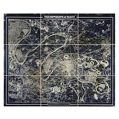 Azure world map parisian boulevard map set of 9 grand scale art by gumiabroncs Images