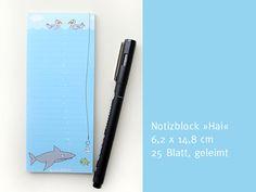 Notizblock Hai-Haken (6,4 cm x 14,8 cm) von die frizzles auf DaWanda.com
