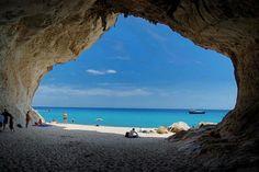 Cala Luna (Baunei/Dorgali - Sardinia) view from inside a cave.