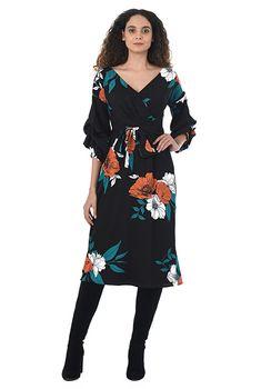 Statement sleeve floral print crepe dress #eShakti
