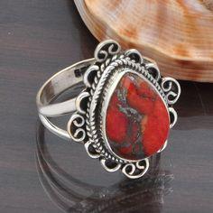 925 STERLING SILVER NEW STLISH ORANGE COPPER TURQUOISE RING 5.21g DJR5400 #Handmade #Ring
