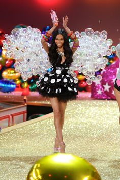 Model Chanel Iman walks the runway during the 2010 Victorias Secret Fashion Show at the Lexington Avenue Armory on November 10, 2010 in New York City.