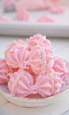Pink Piccadilly Pastries: Pink Vanilla Meringues with Cotton Candy Whipped C...