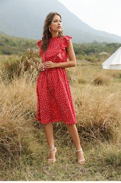 Dot Print Dress Women Floral Print Maxi Dress, Red Midi Dress, Midi Dresses, Cardigans For Women, Casual Dresses For Women, Clothes For Women, Beautiful Dresses, Cute Dresses, Summer Dresses