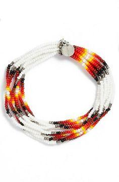Chan Luu Patterned Seed Bead Stretch Bracelet