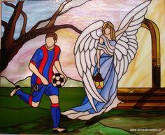 Witraże Tiffany Galeria Anna Danowska Anioł Sportowców 65,5 x 53,5 cm