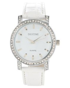 Top off your look with this Plush Diamante Dial Strap Watch by Digitime. This chic designshowcases a sleek, white strap with a classic, silver-tone buckle. Boasting around, diamante encrusted dial and indices on the face, it offers a stainlesssteel back and a quartz movement. Measuring 25.5cm in length, it is securelyhoused in a box. Perfect for the girl-on-the-go, it will have you time andlooking stylish.