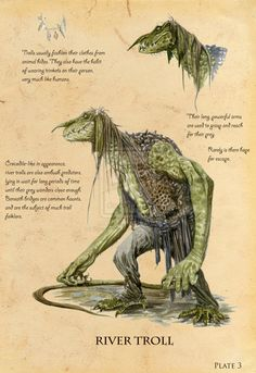 River troll from Norwegian mythology. With a beastly, crocodilian appearance, the river troll is an ambush predator lurking beneath bridges. Fantasy World, Fantasy Art, Spiderwick, Myths & Monsters, Creature Concept, Mythological Creatures, Magical Creatures, Creature Design, Fantastic Beasts