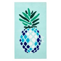 "Soak up the sun on this soft, luxurious beach towel by Matouk featuring a bold, vibrant pineapple print in neon shades. | Cotton velour | Machine wash | Made in Portugal | 40""L x 70""W 