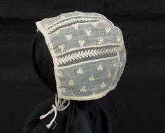 Hand-Embroidered Infant's Bonnet, c.1800-1820