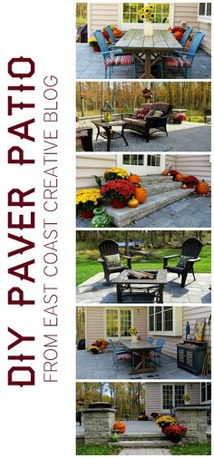 DIY Patio.  Outdoor Living Space from East Coast Creative Blog --- I think this is a lot like what I want, but with a pergola and a fire pit in that bump out part.