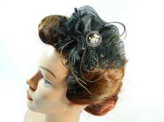 black cameo Fascinator Headpiece Headdress Kopfschmuck Minihat Gothic Burlesque 50s 50er Pinup Hat bridal formal gown prom