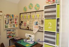 Fussy Monkey Business Craft Room Makeover - love the crib springs!