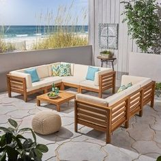 Oana Outdoor Acacia Wood Sectional Sofa Set with Coffee Table by Christopher Knight Home (teak + beige cushion), Yellow, Outdoor Seating Pool Furniture, Simple Furniture, Outdoor Furniture Sets, Furniture Deals, U Shaped Sectional Sofa, Coffee Table Frame, Coffee Tables, Contemporary Outdoor Furniture, Outdoor Seating