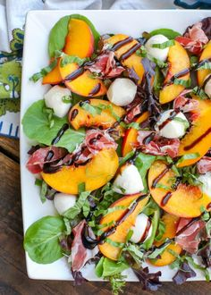 Sweet yellow peaches are tossed with fresh greens and basil then topped with mozzarella and prosciutto before being drizzled with a balsamic glaze to make this Peach Salad. Inspired by the number of fresh peaches Healthy Salad Recipes, Healthy Snacks, Vegetarian Recipes, Healthy Eating, Cooking Recipes, Healthy Summer Recipes, Summer Salad Recipes, Salade Caprese, Grilled Peaches