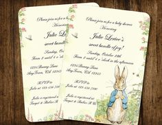 Good Peter Rabbit Vintage Style Baby Shower Or Birthday Invitation By  SONNYAndCo, $9.99