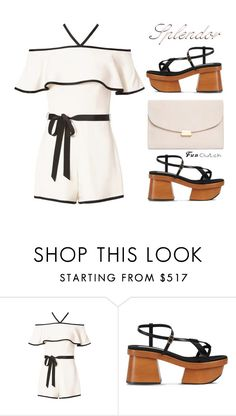 """Romper & Clutch Splendor"" by drennie ❤ liked on Polyvore featuring Alexis, STELLA McCARTNEY, Mansur Gavriel, clutches, fashionset and chunkyshoes"