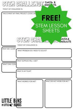 Free STEM Challenge Worksheets for Kids STEM Activities