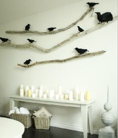 "Buy crows at dollar store and attach to branches. Easy and cool way to ""spruce"" (haha pun) up your room"
