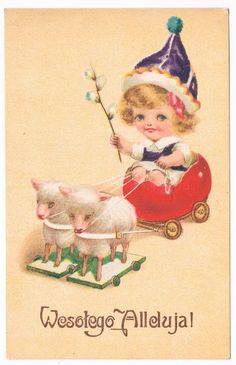 WESOŁEGO ALLELUJA - BARANKI , DZIECKO 1925 Polish Easter, Vintage Easter, Vintage Postcards, Heaven, Christmas Ornaments, Disney Princess, Holiday Decor, Disney Characters, Vintage Travel Postcards