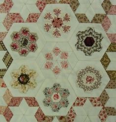 """Karen Styles blog.  These little lovelies are 1/2"""" hexagons and are from Sue's new quilt 'Ring of Roses'."""