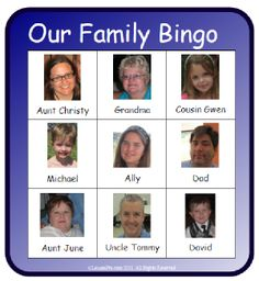 "At LessonPix, Upload your family pictures onto ""Your LessonPix"" (private) to create a family Bingo game. Great way for younger children to learn the names of extended family members!"