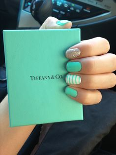 Mint green nails, maybe with tips dipped in gold glitter??                                                                                                                                                                                 More