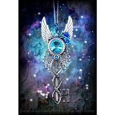 Night Dancer Fantasy Key Pendant, OOAK Fashion Costume Jewelry Cosplay... ❤ liked on Polyvore featuring jewelry, pendants, necklaces, gothic jewellery, aquamarine jewelry, gothic pendants, blue jewellery and aquamarine pendant