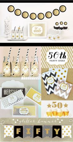 50th Birthday Banner Fifty Birthday Gold Glitter by ModParty