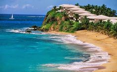 Curtain Bluff in Antigua sits on a spectacular bluff between two beautiful diverse Caribbean beaches