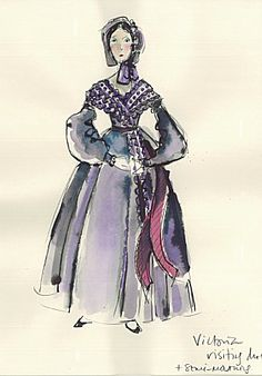 Queen Victoria's Mourning Costume for King William IV  Costume Rendering for The Young Victoria  Costume designer, Sandy Powell.