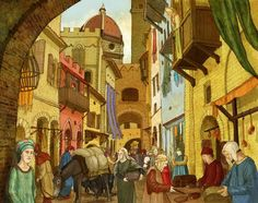 Medieval Market, Children's Book Illustration, Childrens Books, Painting, Artists, Children's Books, Children Books, Kid Books, Painting Art