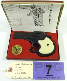 Lot 7 in the August 20th auction! High Standard Model D-100 in 22 Cal. Two Shot Over Under Pistol(Derringer). Features a black finish, egg shell white plastic grips, fixed sights, 3 1/2 inch barrel. Condition grades at 100%. New in box with paperwork. #Gun #Firearm #POGAuctions