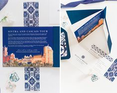 A beautifully designed 4 page Portugal Destination Wedding Invitation booklet that includes inspiration from the famous Lisbon Blue tiles (Azulejo Tiles). Portuguese Wedding, Glazed Ceramic Tile, Booklet Design, Destination Wedding Invitations, Blue Tiles, Color Palate, Belly Bands, Simple Colors, Envelope Liners