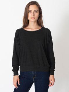 Tri-Blend Light Weight Raglan Pullover in Tri-Black | American Apparel (Sz XS)
