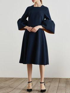 Dark Blue A-line Square Neck Bell Sleeve Polyester Midi Dress