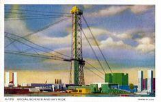 https://flic.kr/p/EugJS4 | Vintage 1934 Chicago World's Fair Postcard (A Century Of Progress) - Social Science And Sky Ride