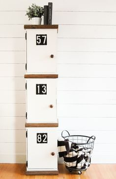 Build your own DIY lockers out of crates! www.littlehouseoffour.com Ikea Expedit Bookcase, Crate Bookcase, Old Wooden Crates, Wooden Diy, Diy Locker, Locker Storage, Furniture Projects, Diy Furniture, Furniture Outlet