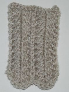 Works on multiples of 7 plus 1 stitches.Row 1 (wrong side): Purl.Row 2: Knit 1, *yarn over, knit 1, slip, slip, knit, knit 2 together, knit 1, yarn over, knit 1. Repeat from * across.Repeat these two rows for pattern.Also Known As: Feathering