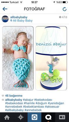 Bebek odası abajuru ve deniz kızıma foto fikri