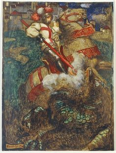 George slaying the dragon – John Byam Liston Shaw. Edwin Austin Abbey, Saint George And The Dragon, A Knight's Tale, Pre Raphaelite, Victorian Art, Traditional Paintings, Paladin, Book Illustration, Erotic Art
