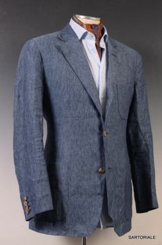 $2875 Loro Piana Blue Linen Blazer Summer Jacket Blazer EU 48 New 38 | eBay $890