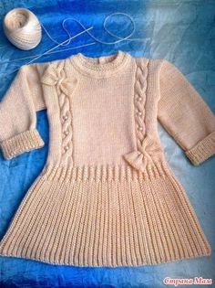 Ravelry: Project Gallery for M Girls Knitted Dress, Knit Baby Dress, Knitted Baby Cardigan, Knitted Baby Clothes, Baby Girl Cardigans, Baby Sweaters, Baby Girl Dresses, Girls Sweaters, Baby Booties Knitting Pattern