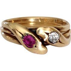 Antique Victorian 18k Gold Snake Diamond Ruby Ring