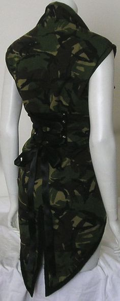 Vintage Camo Corset Jacket Tailcoat Military Army by Revamporium, £32.00